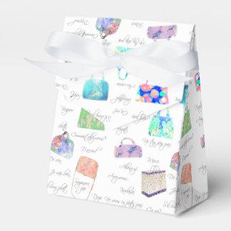 Tipografía floral en colores pastel de los caja de regalos