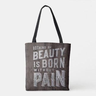 Tipografía llevada belleza de madera de la cita bolsa de tela