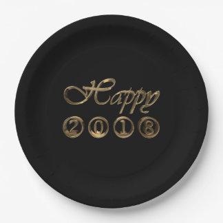 Tipografía negra elegante del oro de la Feliz Año Plato De Papel