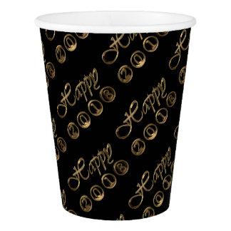 Tipografía negra elegante del oro de la Feliz Año Vaso De Papel