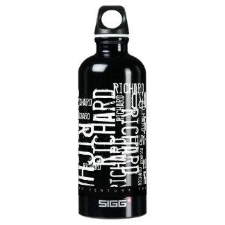 tipografía negro-blanca fresca (modelo de nombres) botella de agua