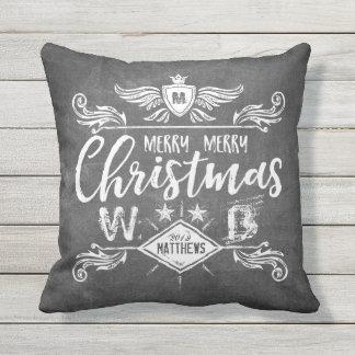 Tipografía retra de las Felices Navidad de la Cojín De Exterior
