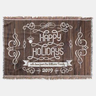 Tipografía rústica del navidad de madera buenas manta