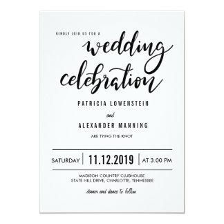 Tipografía simple minimalista de la celebración invitación 12,7 x 17,8 cm