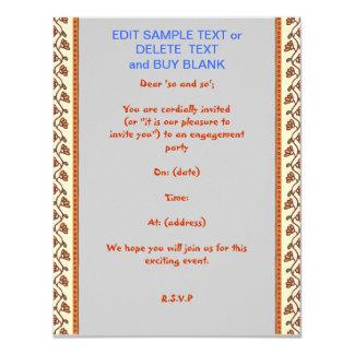 Tipos de papel EDITABLE de los TAMAÑOS n del BASIC Invitación 10,8 X 13,9 Cm