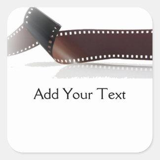 Tira de la película con la reflexión en blanco pegatina cuadrada