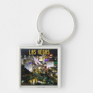 Tira de Las Vegas Boulevard Llavero Cuadrado Plateado