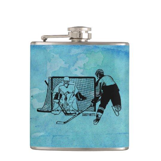Tirado en el bosquejo neto del hockey en acuarela petaca