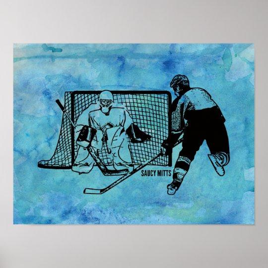 Tirado en el bosquejo neto del hockey en acuarela póster