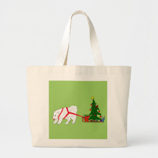 Tire del samoyedo que tira del árbol de navidad bolsa de tela grande