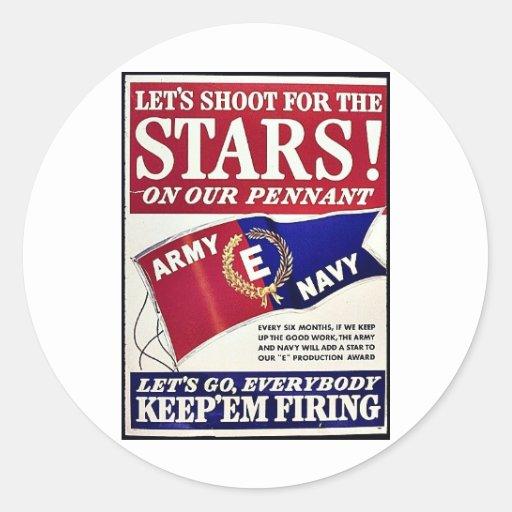 Tiremos para las estrellas en nuestro banderín etiqueta redonda