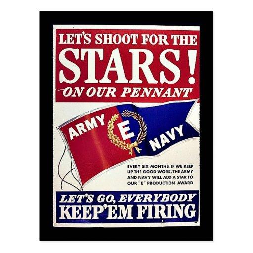 Tiremos para las estrellas en nuestro banderín tarjetas postales