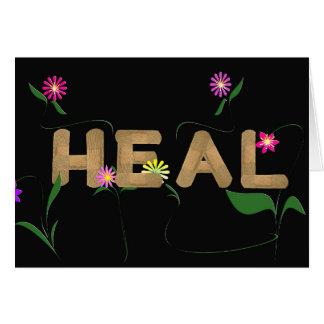 tiritas médicas con las flores tarjeta de felicitación