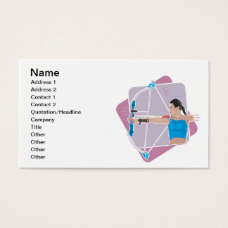 Tiro al arco para mujer tarjeta de visita
