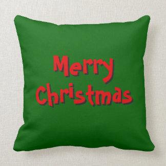 Tiro de la Feliz Navidad Almohada-Verde y rojo Cojín Decorativo