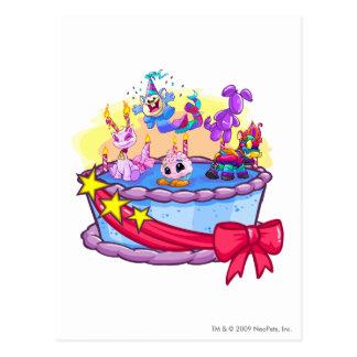 Tiro del grupo de la torta de cumpleaños postal