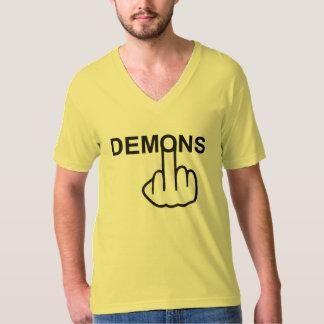 Tirón con cuello de pico de los demonios de la camiseta