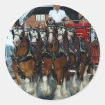 Tirón de caballo de Clydesdale 6 Pegatinas Redondas