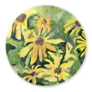 Tirón de cerámica del cajón de las margaritas pomo de cerámica