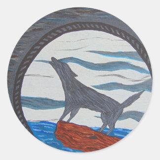Tirón de la luna pegatina redonda