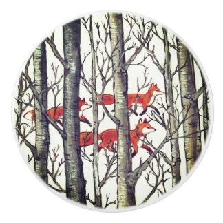 Tirón negro del cajón del arbolado del bosque de pomo de cerámica
