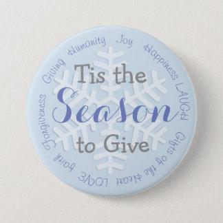 Tis el botón inspirado del navidad azul de la