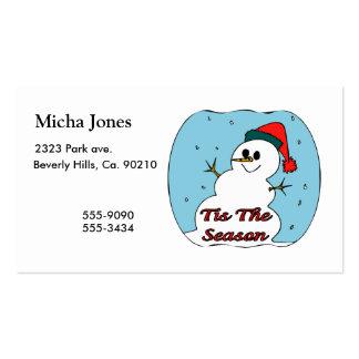 Tis el muñeco de nieve de la estación plantilla de tarjeta de visita