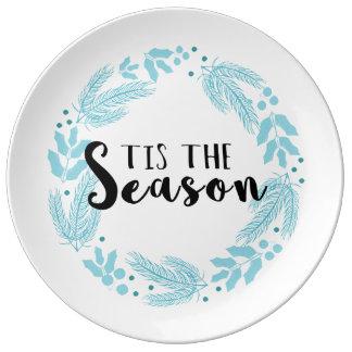 Tis las placas de papel del navidad de la estación plato de porcelana