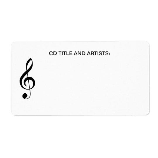 Título CD de la música de la nota musical y organi Etiqueta De Envío