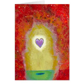Título: Valor minúsculo del corazón púrpura del Tarjeta De Felicitación