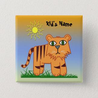 TJ el botón cuadrado del niño lindo del tigre