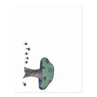 Toadstool colorido, seta colorida postal