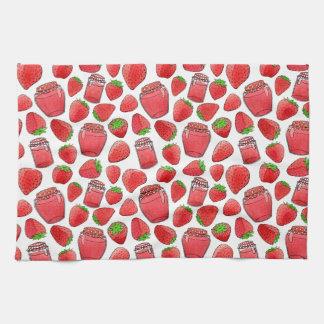 Toalla colorida de las fresas y de los atascos de