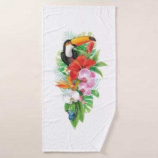 Toalla de baño tropical del collage de Toucan