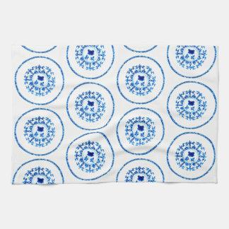 Toalla de cocina blanca azul