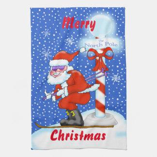 Toalla de cocina del navidad de Santa del esquí