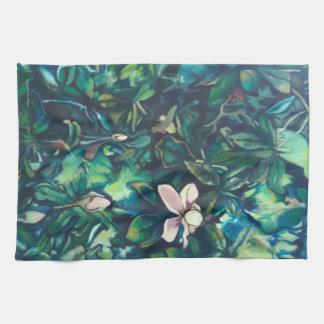 Toalla de cocina floral de la magnolia tropical