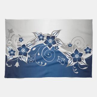 Toalla de cocina floral del azul y de los gris