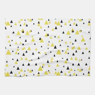 Toalla de cocina geométrica amarilla y negra del