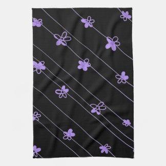 Toalla de cocina púrpura del estampado de plores