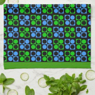 Toalla de cocina retra de Patten del verde azul de