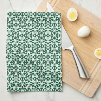 Toalla de cocina verde y blanca del cordón del
