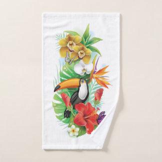 Toalla de mano tropical del collage de Toucan
