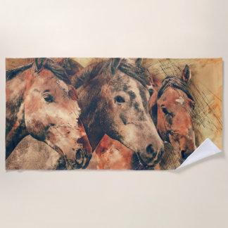 Toalla De Playa Acuarela artística de los caballos que pinta