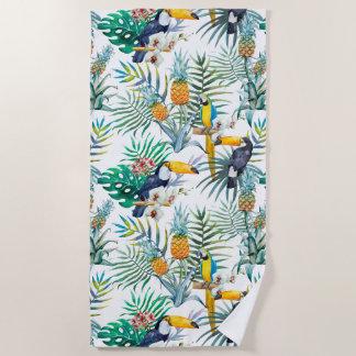 Toalla De Playa Acuarela tropical del pájaro del loro de la piña