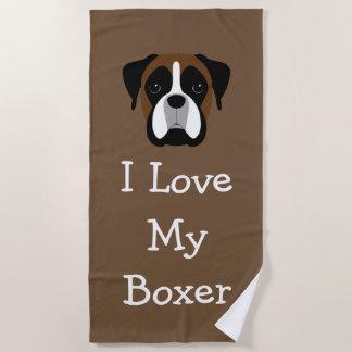 Toalla De Playa Amor del tema del perro del boxeador