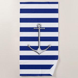 Toalla De Playa Ancla del cromo en la impresión náutica de las