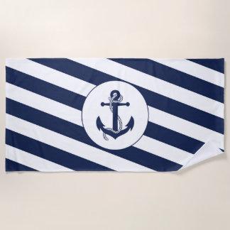 Toalla De Playa Ancla náutica de la raya de los azules marinos y