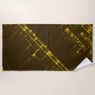 Toalla De Playa Armadura geométrica amarilla rústica del batik de