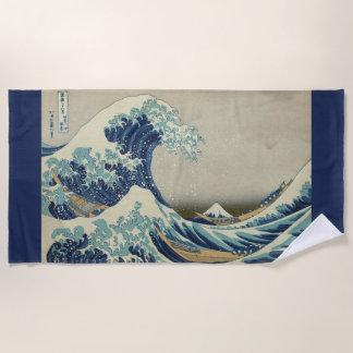 Toalla De Playa Arte japonés del vintage, la gran onda por Hokusai